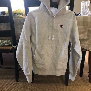 Champion grey hooded sweatshirt sz small